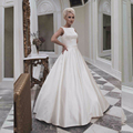 Simple Satin Wedding Dress A Line Sleeveless Floor Length Zipper Back robe de mariee Boat Neck bruidsjurken 2016 Vintage Custom