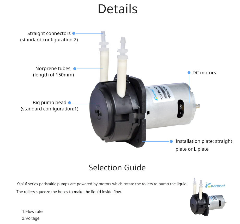 Kamoer KSP16 Peristaltic Pump (Water Pump, High Flow, Low Noise, Free Shipping, Food Safe, 12V DC Motor, 24V DC Motor) kamoer 2018 the newest cost effective dc motor water pump khs peristaltic pump with silicone tubings