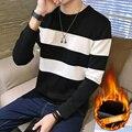 Новый 2016 зимняя мода черный и белый цвет заблокированные полосатый толстовки мужчины руно теплый толстовки мужская одежда размер m-5xl WY6-6