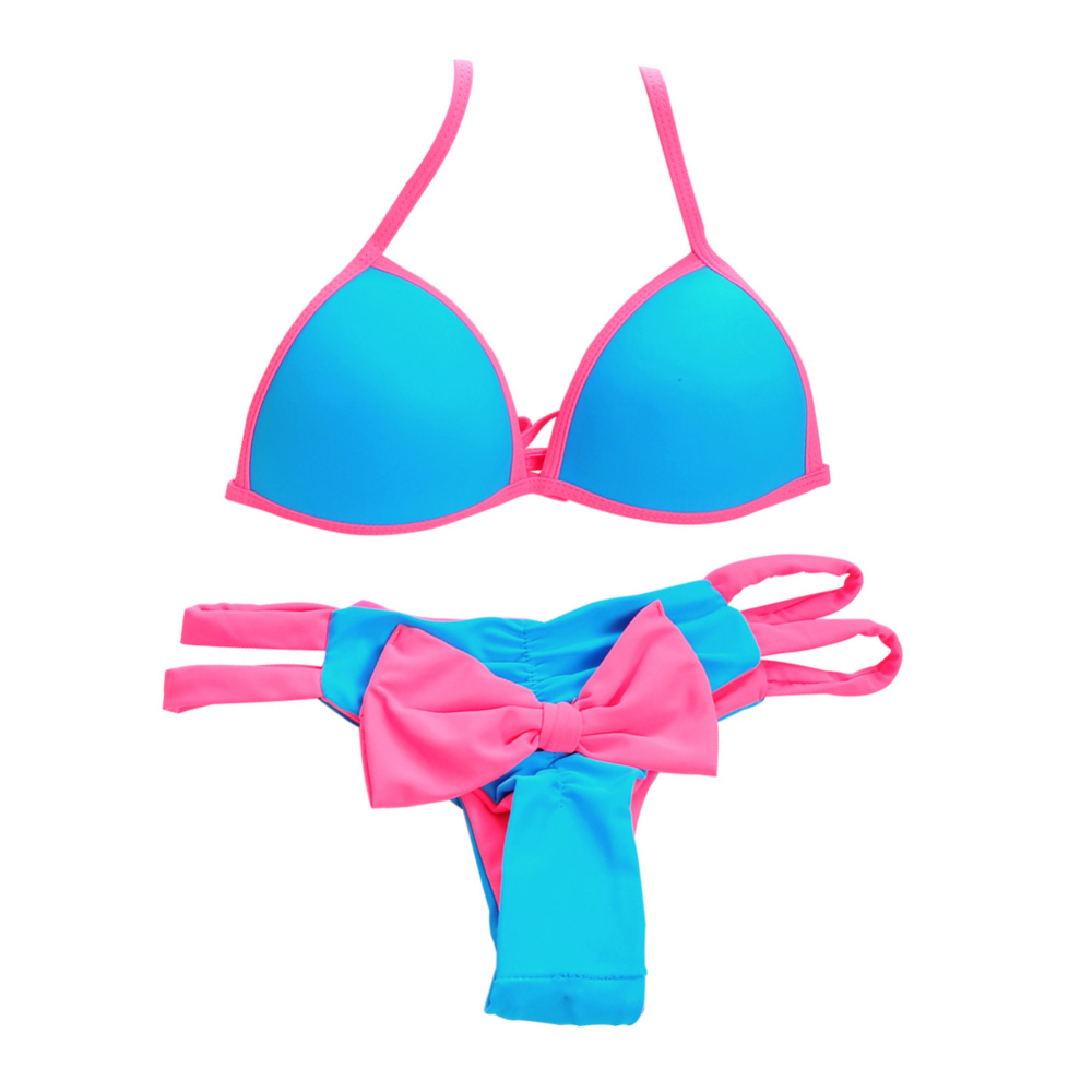 Varmt! Kvinner Push Up Sexy brasilianske bikini sett med lavt vev Badetøy Halter Bathing Tie på Back Bow Bottom Triangle Badedrakt SJ15181