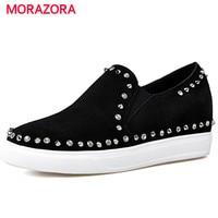 MORAZORA Four Seasons Single Shoes Woman Fashion Rivets Women Shoes Pumps Height Increasing Round Toe Four