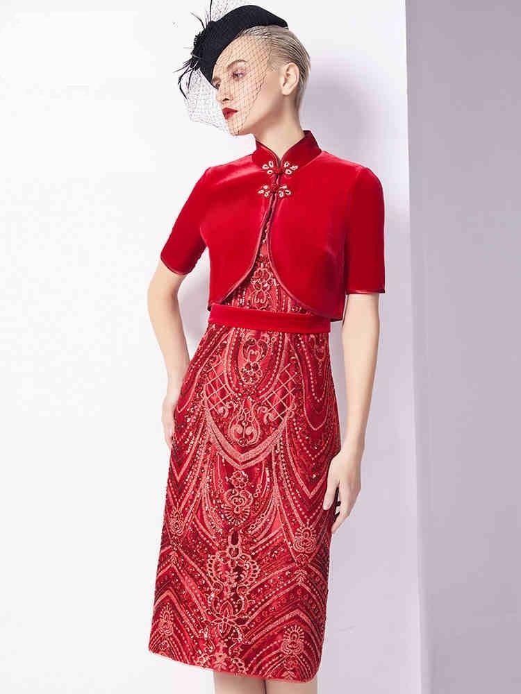 a01e297c56 De Zipipiyf Fête Tenue Robe Fiesta Mariage Femmes Rouge Robes Moulantes  Style Chinois Paillettes Lentejuelas Pour ...