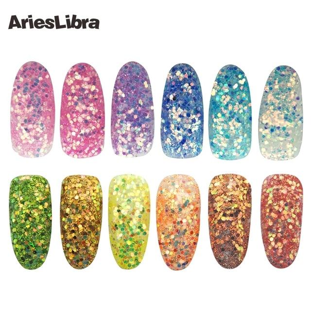 Arieslibra 12potsset High Gloss Glitter Dust Nails Glitter Acrylic