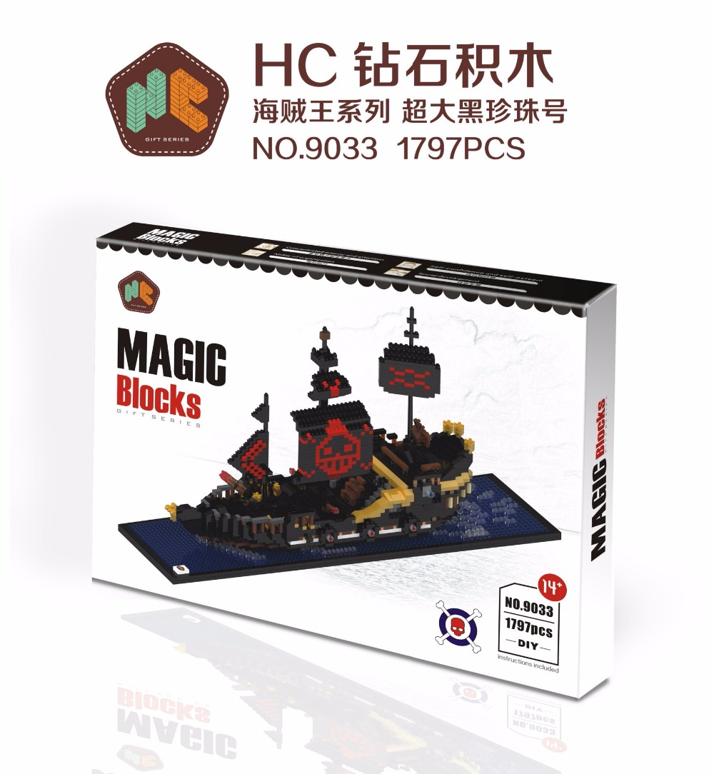 все цены на  HC Magic Blocks One Piece Blocks Black Pearl Pirate Ship Blocks DIY Building Anime Toys Auction Model Toy Kids Gifts HC9033  онлайн