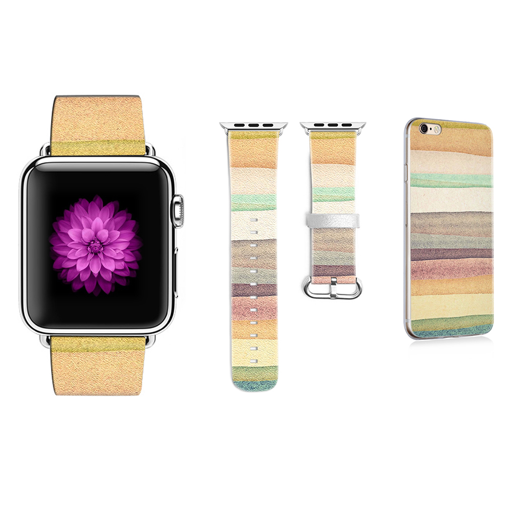 Original Desing Colorful Style Leather Watchband for Apple Watch 38mm 42mm Band for Iwatch Series 2 3 Band Gifts for IPhone Case original abstract art lines band for apple watch band 38mm 42mm leather for iwatch band series 1 2 3 gift for iphone case