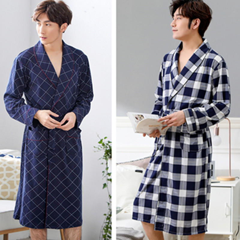 Men Modal Bathrobe Male Night Dressing Gown Mens Plus Size Kimono Robes Classic Lounge Sleepwear