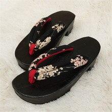 Japonais Cosplay En Bois Pantoufles Femmes Chaussures De Mode Flip Flops Femmes Sabots Noir Demi Lune Zapatos Mujer