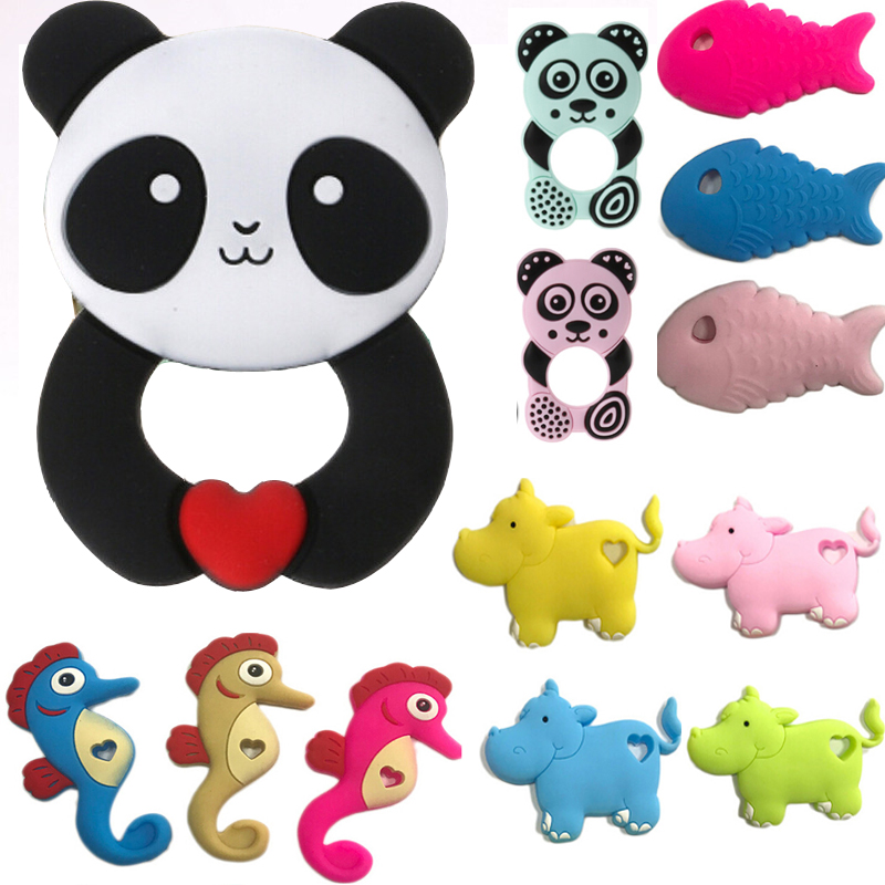 24 Colors Silicone Teethers Animal Panda Hippo Fish Baby Ring Teether Silicone Chew Charms Baby Teething Gift Toddler Toy
