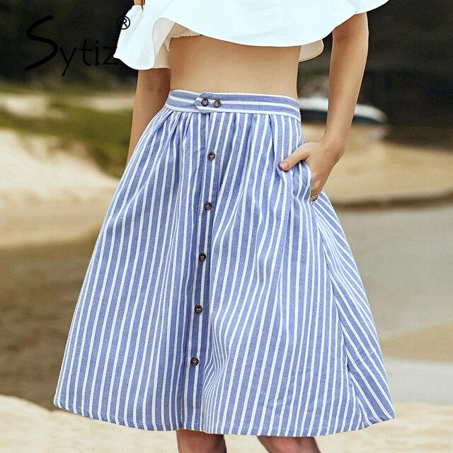 Sytiz Striped A-Line синий однобортный юбка Женская Новинка Лето 2017 г. милые повседневные Ботфорты-Длина юбки