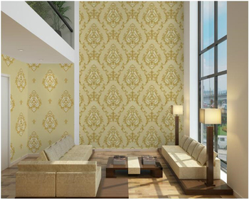 beibehang Luxury European deep embossed non-woven wallpaper High-grade thick blue AB wallpaper living room background wall paper
