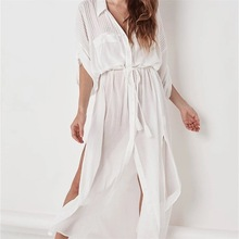 Women's Button Down Shirts Sheer Crinkle Chiffon Kimono Cover Up Solid Open Front Cardigan Beach Dress недорого