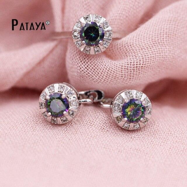 Pataya Rainbow Round Jewelry Set Women Natural Cubic Zirconia Earrings Ring Bridal Weddings Glowing Beautiful Accessories