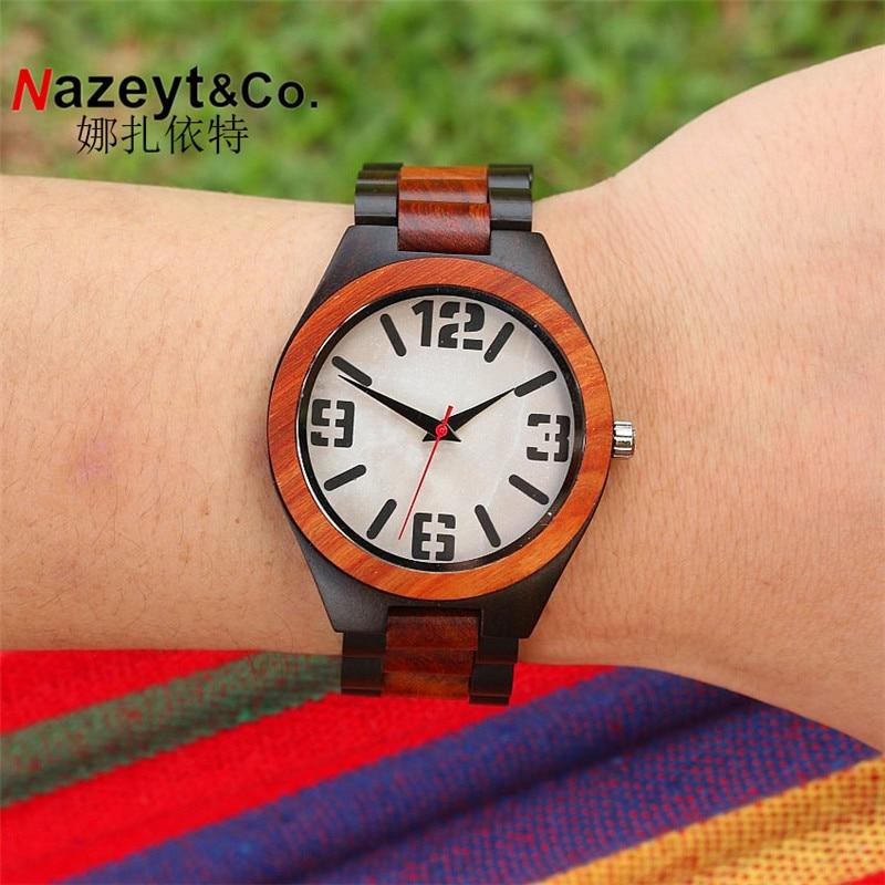 Marca de Topo Marca de Luxo de Madeira de Ébano Pulseira de Relógio com Grãos de Mármore com Movimento Hotime Homens Relógios Japão Relojes Mujer 2020 Top