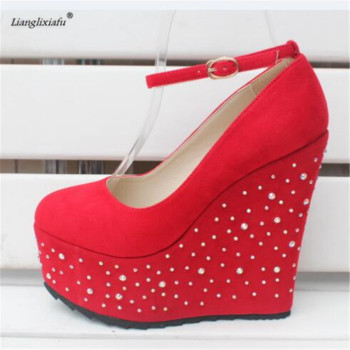 LLXF Small Yards:30 31 32 33 Plus:42 43 Sweet Abiball shoes woman 15cm wedges Rhinestone zapatos mujer platforms Nightclub pumps