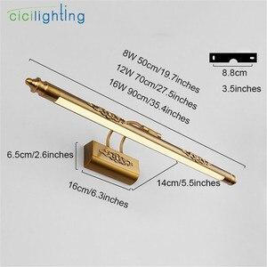 Image 2 - 110V 220V L50cm L70cm L90cm amerikan retro bronz lambası led ayna ışık banyo dolabı vanity makyaj kozmetik aydınlatma armatürleri
