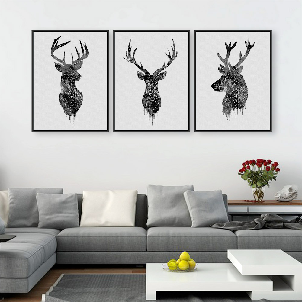 Triptych original watercolor deer head animals a4 art for Prints for home decor