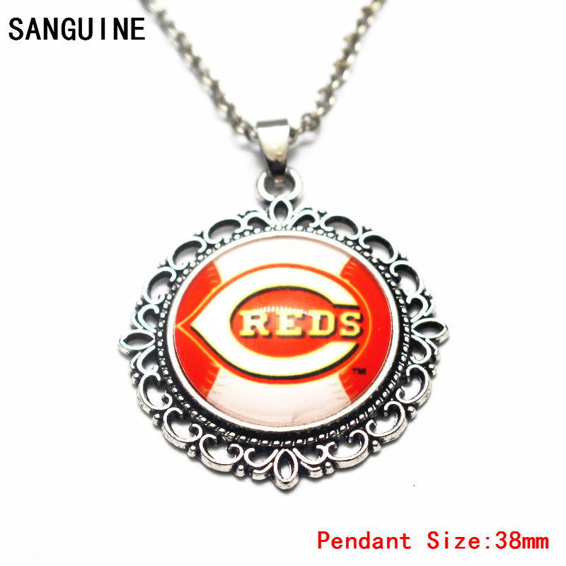 New Style 1pcs Silver Round Baseball Cincinnati Reds Glass Pendant Necklace Free Chain For Women Big Necklace DIY Jewelry