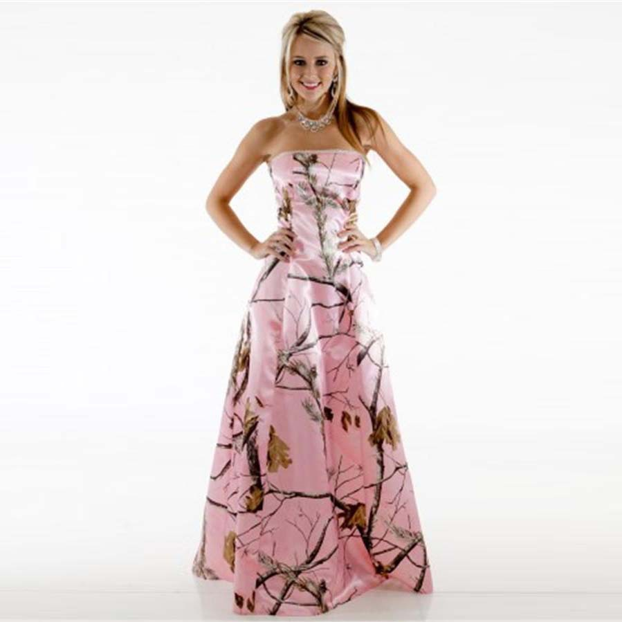 2016 Camo Bridesmaid Dresses Pink Strapless Pattern