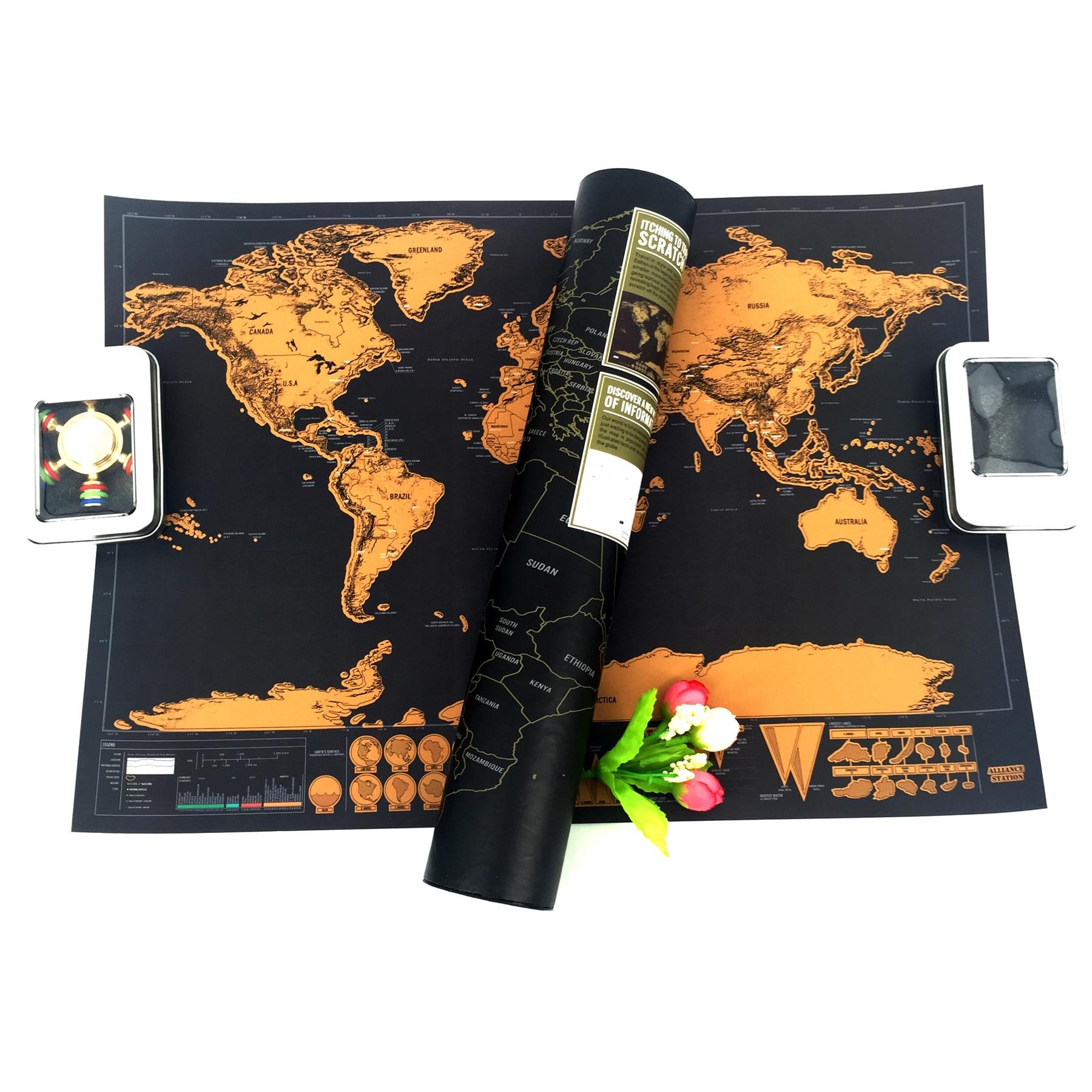 Drop shipping Deluxe Carte Personnalisée carte Du Monde noir carte 82x59 cm