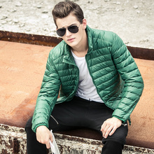 Nice Men Winter Warm Down Coat  Ultra Light Thermal Travel Portable Jacket Outwear Thin White Duck Down Plus Size Coats HJ115