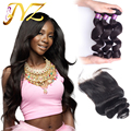 Brazilian Virgin Hair With Closure Loose Wave 3 Bundles With Closure Brazilian Loose Wave Hair With Lace Closure Human Hair