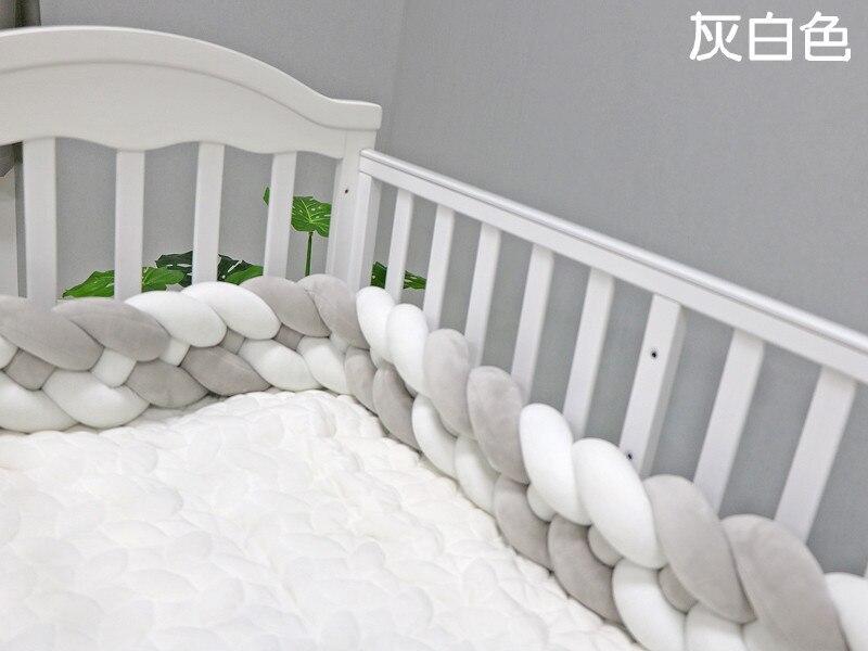 Длина 300 см, детская кроватка, бампер, завязанная узлом, заплетенная плюшевая детская колыбель, Декор, подарок для новорожденных, подушка, детская кровать, спальный бампер - Цвет: gray white 4 ropes