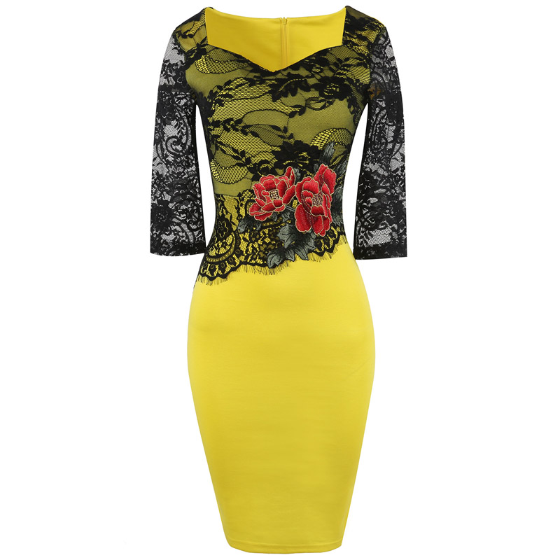 Womens Vintage 50s 60s Plus Size Dress Black Lace Embroidery Yellow Patchwork Half Sleeve High Waist Cocktail Party Dress 2018