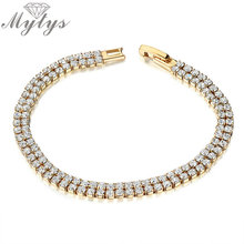 Yellow Gold GP Bar Setting Crystal Two Layer Bracelet for Women Fashion Jewelry B475