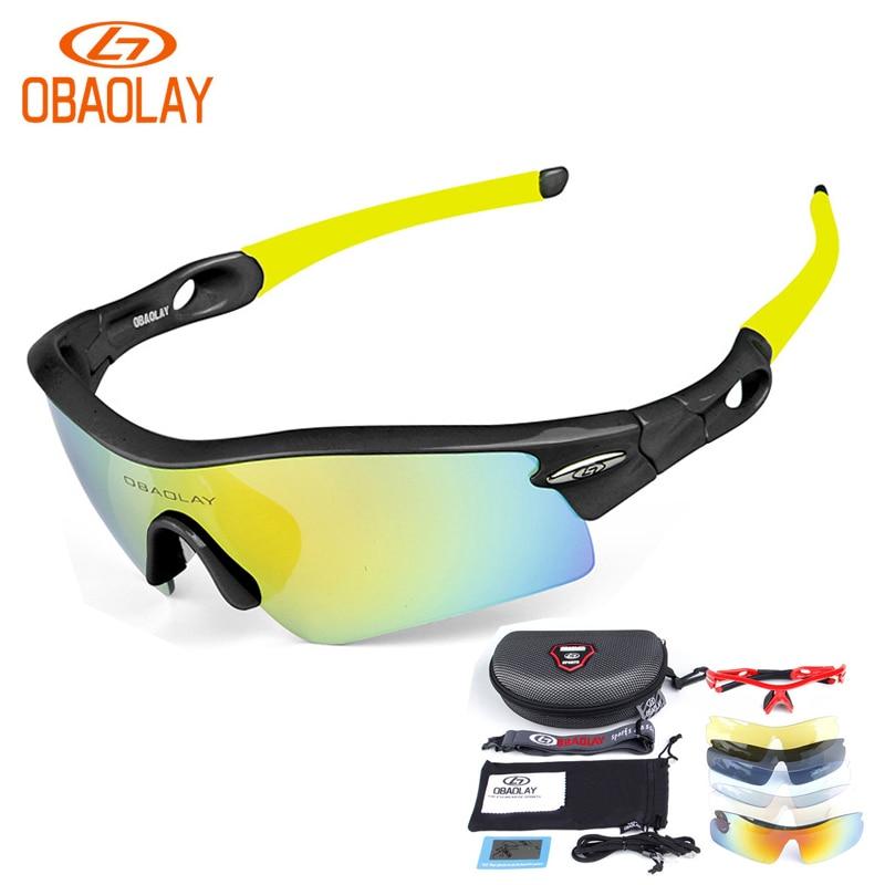 Prix pour OBAOLAY Vélo Lunettes VTT Vélo Lunettes Vélo lunettes de Soleil Polarisées 5 Lentille Lunettes Pour Sport En Plein Air Radar Lunettes de ciclismo