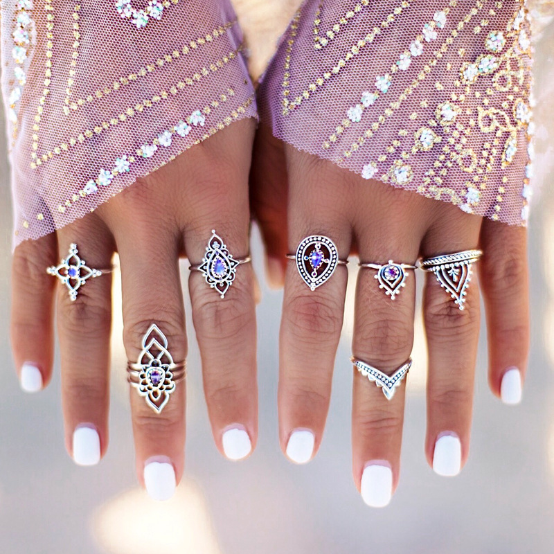 7pcs/ set Vintage Antique Silver Color Flower Crown Knuckle Ring Set Punk Boho Carving Finger Rings Bohemian Midi Ring For Women