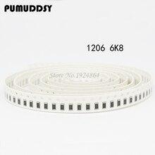 100PCS 1206 SMD Resistor 6 8K ohm chip resistor 0 25W 1 4W 6K8