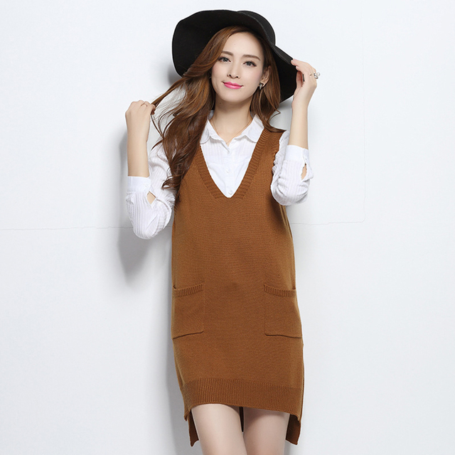 Women's Cashmere Knit Pullovers Vest Waistcoat In The Long Section Autumn Winter Sleeveless Vest Casual Brand female Shirt Coats