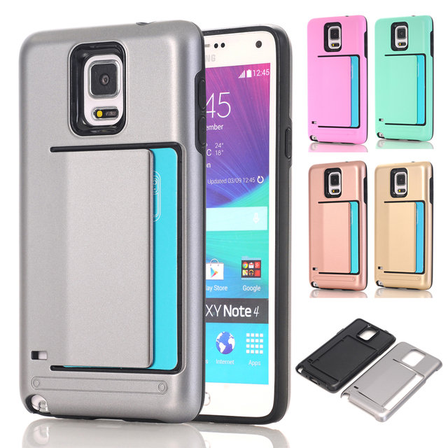 14a8fcac79699 Card Holder Armor PC   TPU Hard Case For Coque Samsung Galaxy Note 4 Case  Silicone Rubber Phone Case Samsung Galaxy Note 4 Cover