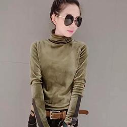 2018 Woman Velvet Warm Bottoming Half Turtleneck Pullover Sweaters New Fashion Fall Korean Long Sleeve Pullover Sweater 5