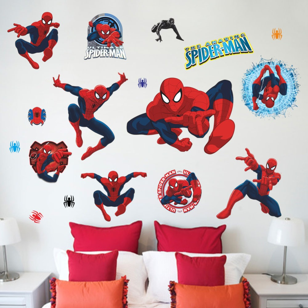 HOT!Cartoon Spider-man wall stickers Boys Room Living room decals Art PVC home decor Nursery Kids Wall sticker decorative