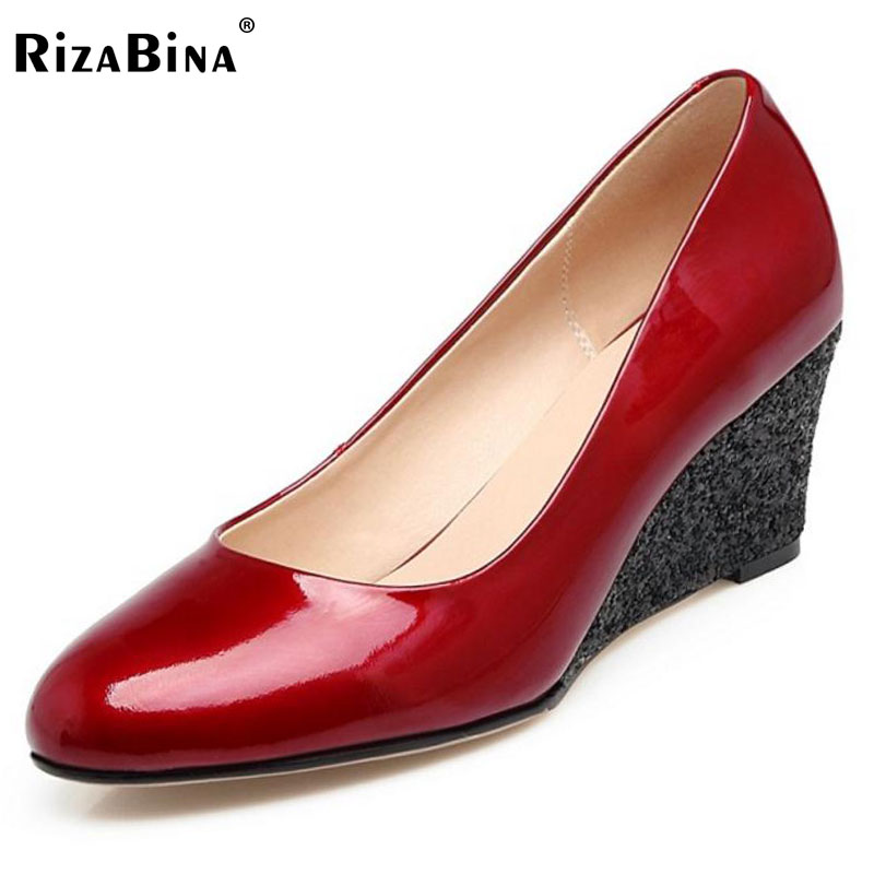 RizaBina Women Genuine Leather High Wedges Pumps Ladies Fashion Round Toe Slip On Shoes Women Party Pumps Footwear Size 34-39 new women flats shoes leather round toe shoe ladies fashion leather girl shoes slip on work footwear spring summer big size