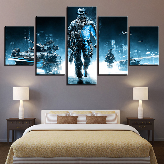 Home Decor HD Printed Canvas Painting 5 Pieces Game Battlefield 3 Theme Modular Posters Pictures For Living Room Wall Art Frames 1