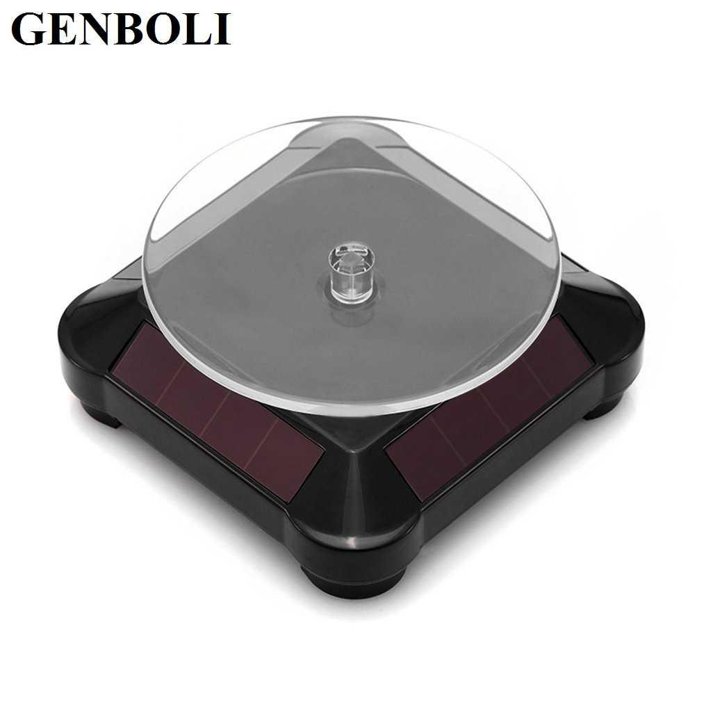 Stehen Halter Solar Power Batterie 360 Grad Plattenspieler Rotierenden Display-ständer Uhr Ring Halsketten Schmuck