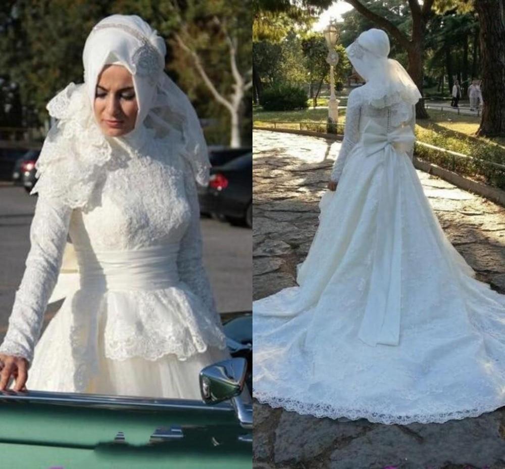 2015 súper ventas musulmán boda vestidos manga larga de encaje de ...