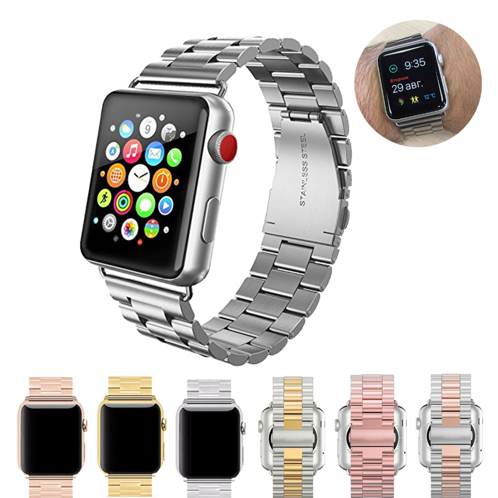 Stainless Steel Watch Band for apple watch 42mm 38mm bands metal bracelet watch band Wrist watch strap for iwatch 3/2/1 band купить в Москве 2019