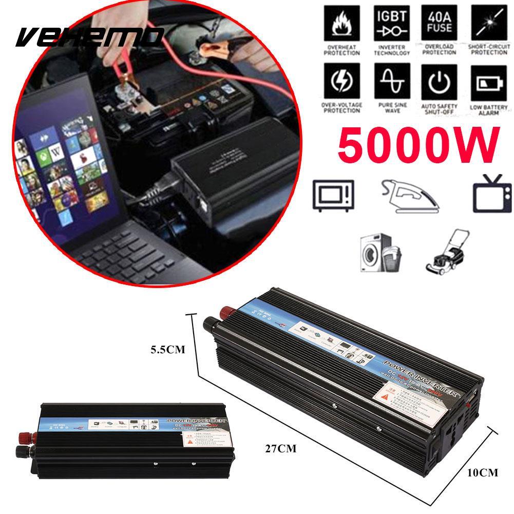 Vehemo DC12V к AC 220 В 5000 Вт Автомобильный Инвертор автомобильный преобразователь Мощность инвертор высокая производительность Портативный адапт...
