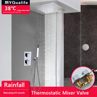 Thermostatic Shower Faucet Set Chrome Dual Handle Rainfall Bathroom Shower Tap with Handshower 2 Ways Thermostatic Mixer Valve