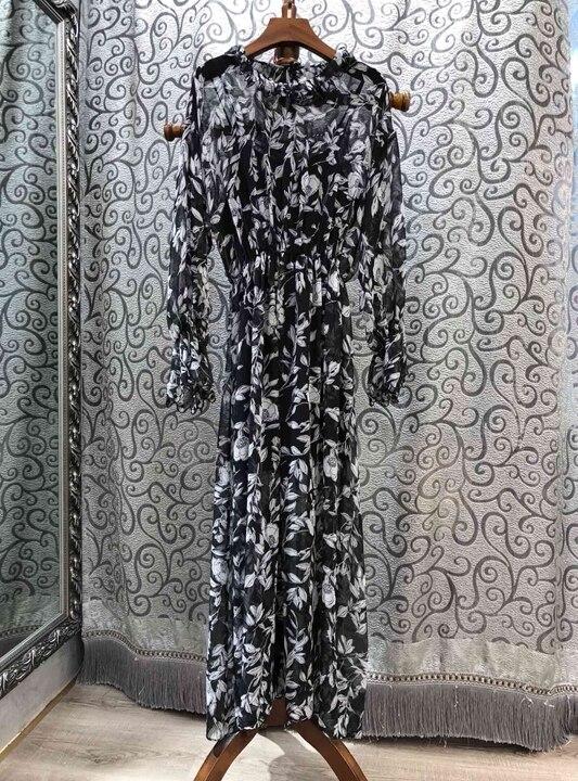 Main Marionnettes 226 À Haut 2019 De Impression Femmes Défilé Gamme Robe Nouveau Mode Mince Doublure BaqIYUq