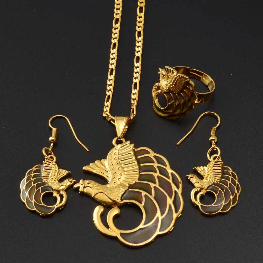 Anniyo (Emaille Werden Farbe Ändern) NEUE Material Anhänger Halsketten Ohrringe Ring Papua-neuguinea Vogel Schmuck PNG Sets #158406