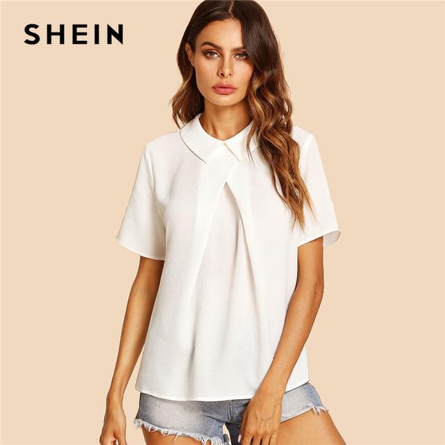 7fc03fba7a8 SHEIN White Overlap Fold Plain Top Women Peter Pan Collar Short Sleeve  Button Soild Blouse 2018 Summer Weekend Casual Blouse