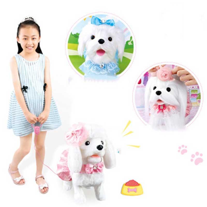 Robot chien électronique chien jouets en peluche chiot Pet marche aboiement princesse laisse Teddy contrôlé par ligne jouets pour enfants filles cadeaux