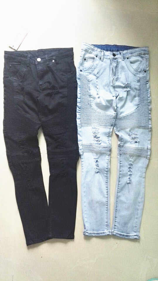 Famosa marca hombres rectos vaqueros Slim Pantalón Denim Pantalones vaqueros Biker Denim skinny hombres Jean azul negro grey Pantalones