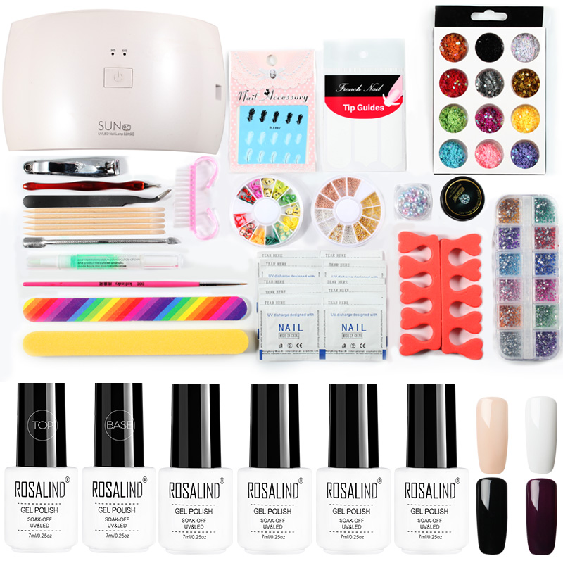 ROSALIND Gel Nail Kits With Lamp Set For Manicure