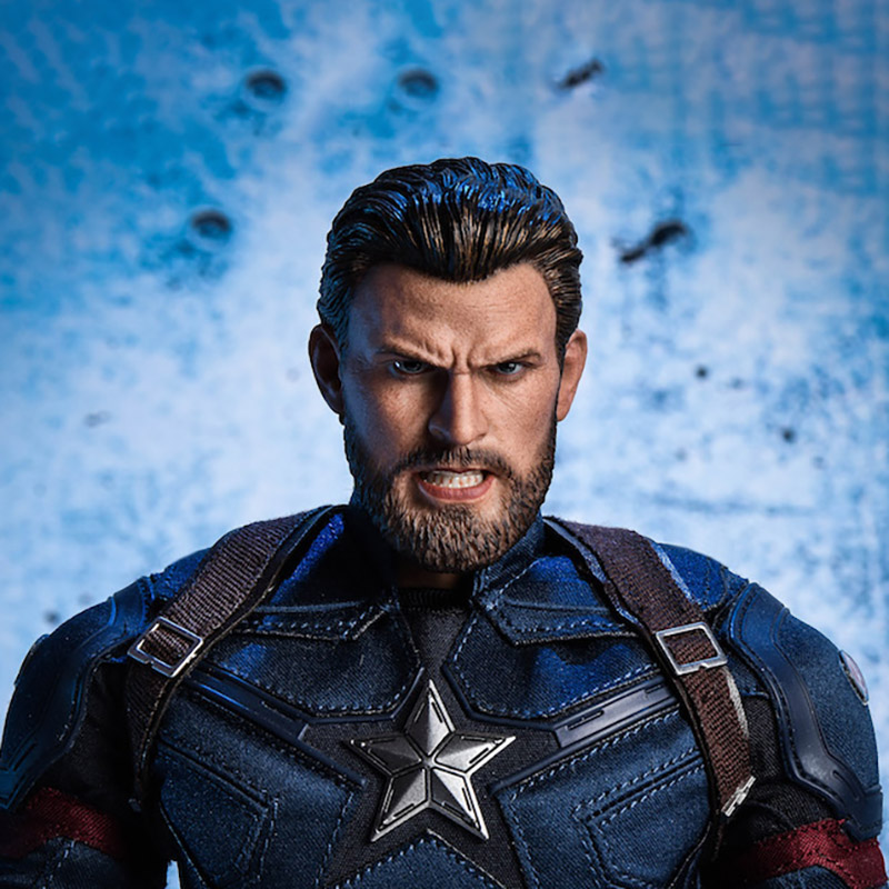 """1/6 Scale Super Hreo Captain Bearded fight Angry Version Head Team leader Sculpt Headplay for 12"""" Action Figure Body"""