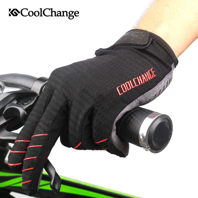 Coolchange luvas de ciclismo à prova de vento dedo cheio esporte equitação mtb bicicleta luvas tela toque inverno outono homem mulher